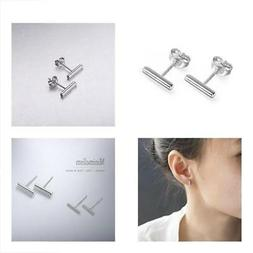 S.Leaf Minimalist 925 Sterling Silver Stud Earrings Bar Earr
