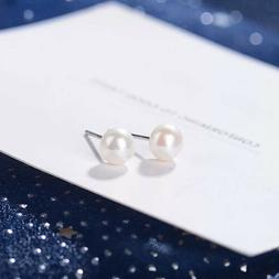 S925 Sterling Silver 6 8 mm White Freshwater Pearl Stud Wome