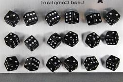 set pack 9 pair Black plastic dice casino post stud earrings