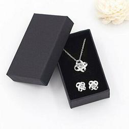 silver necklace earrings set stud zircons fashion