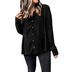 XOWRTE Women's Solid Button Up Tops Front Ruffled Pleats Poc