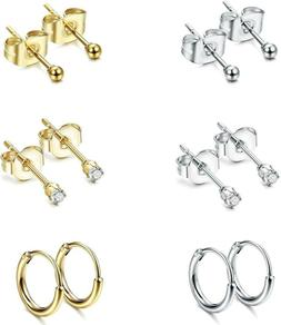 Jstyle Stainless Steel 2mm Tiny Stud Earrings for Women Mens