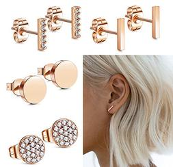 FIBO STEEL Stainless Steel CZ Bar Stud Earrings for Men Wome