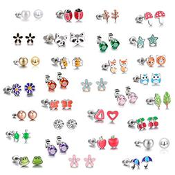 30 Pairs Stainless Steel Mixed Color Cute Animals Fox Heart