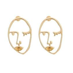 Zealmer Statement Face Outline Earrings Hollow Out Dangling