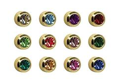 Caflon Sterilized 4mm Bezel Birthstone Earring Studs Standar