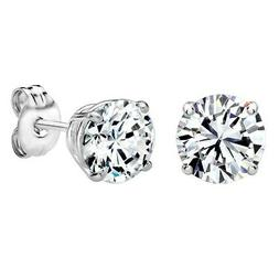 Sterling Silver 6mm Round Stud Earrings 2ct TW Made with Swa