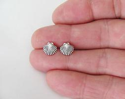 Sterling Silver 8.5mm Scallop Sea Shell with Hypo-Allergenic