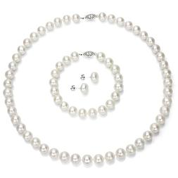 Sterling Silver 9-9.5mm White Freshwater Cultured Pearl Neck