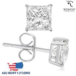 Sterling Silver 925 Solid Square Princess Cut Cubic Zirconia