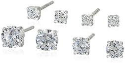 Sterling Silver AAA Cubic Zirconia Round Earrings Four-Pair