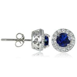 sterling silver created blue sapphire and white