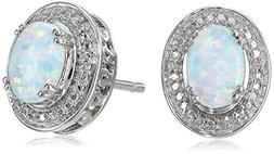 sterling silver created opal oval with diamond