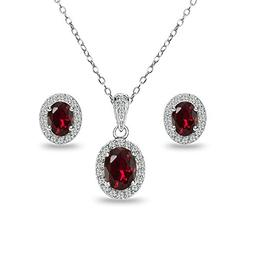 Sterling Silver Created Ruby and White Topaz Oval Halo Neckl