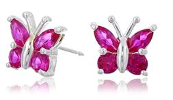 sterling silver genuine or created gemstone butterfly