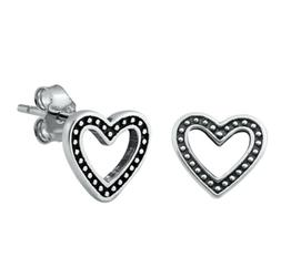 Sterling Silver Heart Stud Earrings, 8.5 mm