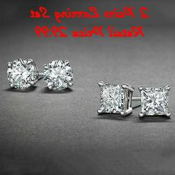 Sterling Silver Stud Earrings Cubic Zirconia Round Men Women