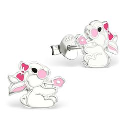 ICYROSE Sterling Silver White Easter Bunny Rabbit Girls Stud