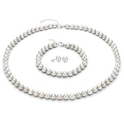 Sterling Silver 8-8.5mm White Freshwater Cultured Pearl Neck