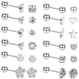LOYALLOOK Stud 8 Pairs Stainless Steel Ball Earrings Barbell
