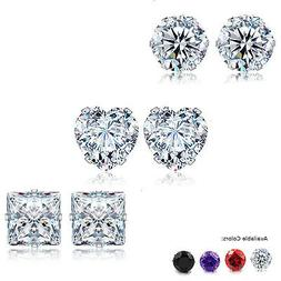 Stud Earrings Heart Square Round Clear Red Pur Black CZ 3 -