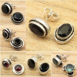Stud Earrings ! Many Stones, Many Styles ! 925 Silver Plated