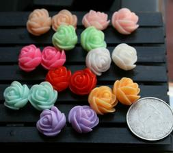Stud earrings, resin, colorful roses, 9 different colors, si