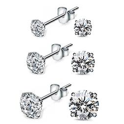Stud Earrings With Cubic Zirconia Faux Diamond And 18K White