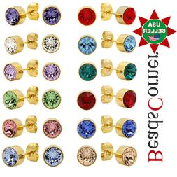 Surgical 316L Stainless Steel Gold Birthstone Stud Earrings
