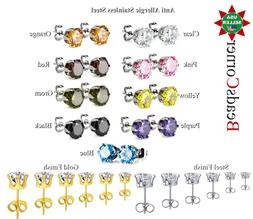 Surgical 316L Stainless Steel Stud Earrings Cubic Zircon Men