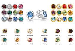 SURGICAL STAINLESS STEEL BIRTHSTONE EAR PIERCING STUD EARRIN