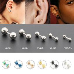 Surgical Steel Earring Stud Screwback Round Baby Mens Double