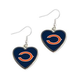 Sports Team Chicago Bears Non-Swirl Heart Shape Dangle Earri