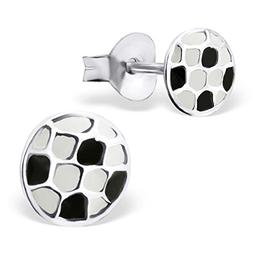 Tiny Soccer Ball Stud Earrings White Black Sport 925 Sterlin