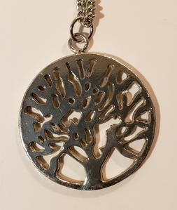Tree of Life - Stud Earrings + Pendant Necklaces Silver Tone