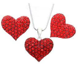 Valentine's Day Red Love Heart Stud Earrings Necklace Set Gi