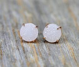 White Druzy Gemstone Prong Set Stud Earring- Real Druzy-Rose