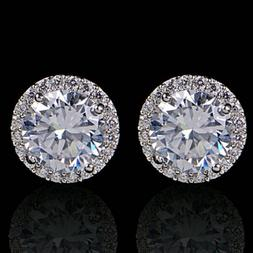 Women's 18K White Gold Plated Crystal Zircon Inlaid Ear Stud