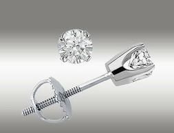 14k White Gold Stud Earrings Round Cut .20 Ct With Screw Bac