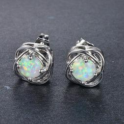 Women 925 Silver Stud Earrings Round Cut White Fire Opal Wed