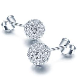 Women 925 Sterling Silver Ball Jewelry Lady Elegant Crystal