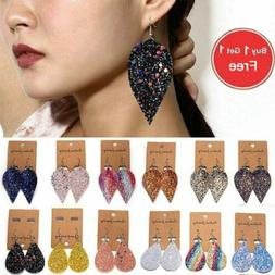 Women Bling Leaf Teardrop Leather Earrings Ear Stud Hook Dro