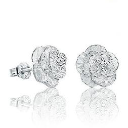 Women Cherry blossoms Lady Elegant Crystal 925 Sterling Silv