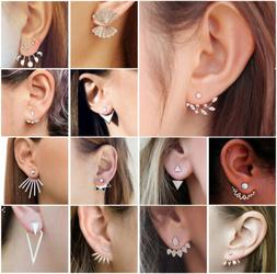 Women Crystal Rhinestones Metal Ear Stud Gold/Silver Earring
