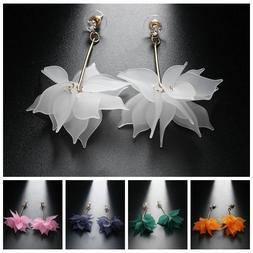 Women Elegant White Ear Stud Crystal Flower Drop Long Dangle