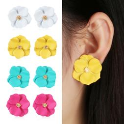 Women Ethnic Metal Floral Ear Stud Big White Flower Earrings
