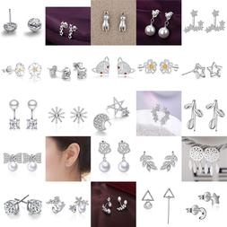 Women Fashion 925 Sterling Silver Plated Crystal Ear Stud Si