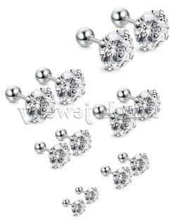 Women Men Silver Stainless Steel Round Cubic Zirconia Stud E