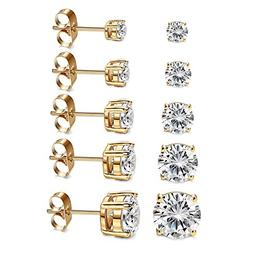 Women's 18K Gold Plated CZ Stud Earrings Simulated Diamond R