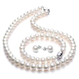 Women's Freshwater Cultured Pearl Necklace Set Stunning Brac